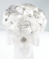 Lillian Rose White Crystal Flower Bouquet