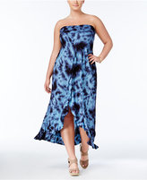 Raviya Plus Size Tie-Dyed Strapless Cover-Up