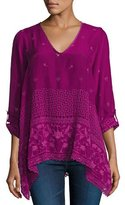 Johnny Was Sash Flare Georgette Tunic, Purple, Plus Size