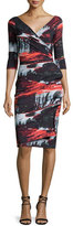 La Petite Robe di Chiara Boni Flo Draped Abstract Cocktail Dress, Marte Black/Multicolor