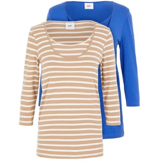 Mama Licious Mamalicious Womens Lea Two Pack Long Sleeve T-Shirt Sesame/Bright Blue