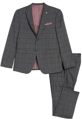 Original Penguin Medium Grey Plaid Two Button Notch Lapel Slim Fit Suit