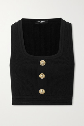 Balmain Cropped Button-embellished Ribbed Stretch-knit Top - Black