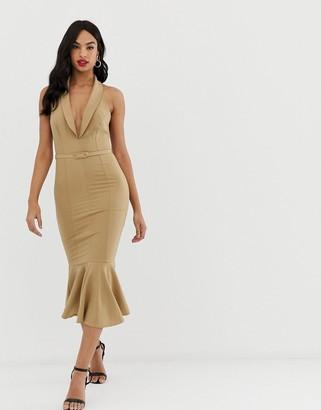 Asos Design DESIGN sleeveless tux button through midi dress with self belt