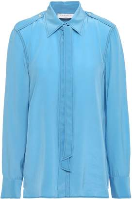 Sandro Tie-neck Silk Crepe De Chine Shirt