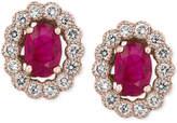 Effy Amoré by Certified Ruby (1-9/10 ct. t.w.) and Diamond (5/8 ct. t.w.) Bezel Earrings in 14k Rose Gold