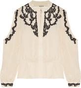 Haute Hippie Corded lace-trimmed cutout silk crepe de chine blouse