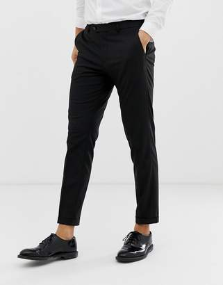 Jack and Jones smart trouser in cropped fit-Black