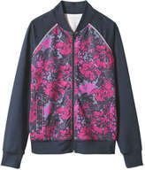 Joe Fresh Women's Floral Bomber Active Jacket, JF Midnight Blue (Size S)