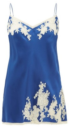 Carine Gilson Lace-trimmed Silk-satin Slip Dress - Womens - Blue Multi