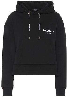 Balmain Cropped cotton hoodie