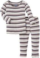 Kickee Pants Print Pajama Set (Baby) - Rain Stripe-NB