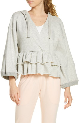 Free People Side Swept Ruffle French Terry Hoodie