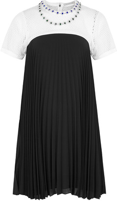Christopher Kane Monochrome embellished chiffon mini dress