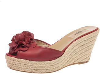 Valentino Red Leather Flower Applique Espadrille Wedge Platform Sandals Size 39.5
