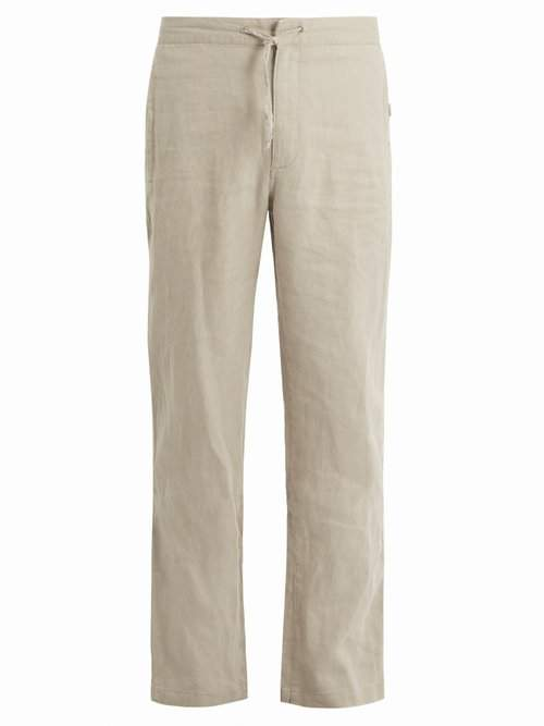 Onia Collin Drawstring Linen Trousers - Mens - Brown