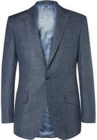 Richard James Blue Slim-fit Slub Linen And Wool-blend Puppytooth Suit Jacket