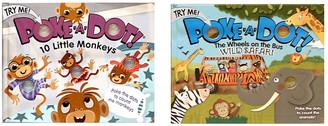 """Melissa & Doug Poke-A-Dot Book Bundle - """"10 Little Monkeys"""" and """"Wheels on the Bus"""" Books"""