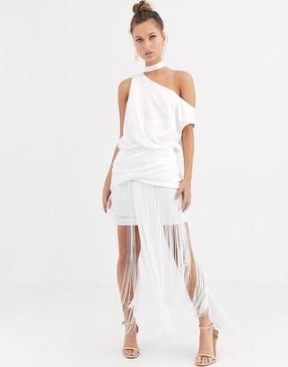 ASOS DESIGN one shoulder fringe maxi dress with satin top