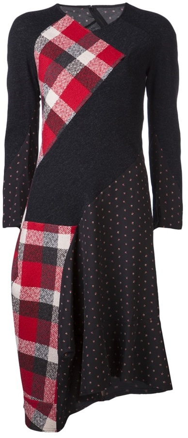 Comme des Garcons Junya Watanabe floral and plaid pattern dress
