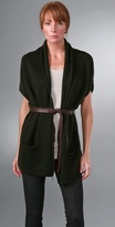 Vince Short Sleeve Cardigan with Leather Tie Belt