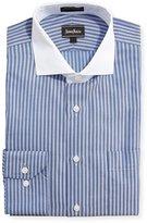 Neiman Marcus Classic-Fit Non-Iron Derby-Stripe Print Dress Shirt, Blue