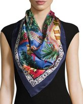 Salvatore Ferragamo Nuggy Silk Square Beach Scarf, Marine