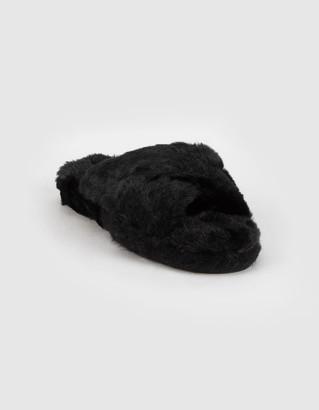 Qupid Faux Fur Cross Womens Nude Slide Sandals