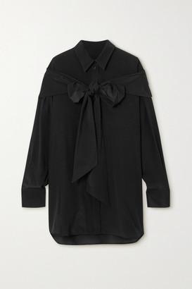 Simone Rocha Tie-detailed Silk Crepe De Chine Shirt - Black