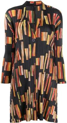 Pleats Please Issey Miyake V-neck pleated coat