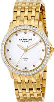 Akribos XXIV Women's AK620YG Lady Diamond Swiss Quartz Diamond and Crystal Gold-Tone Stainless Steel Bracelet Watch