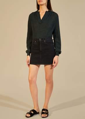 KHAITE The Dolly Mini Skirt in Stoned Black