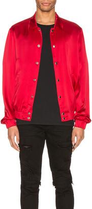 Keiser Clark Silk Bomber Jacket in Blood Red | FWRD