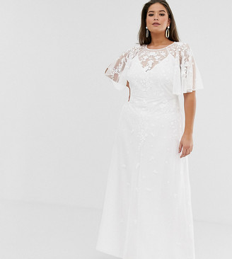 Asos Edition EDITION Curve embroidered flutter sleeve maxi wedding dress-White