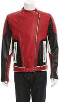 Balmain Tri-Color Leather Biker Jacket