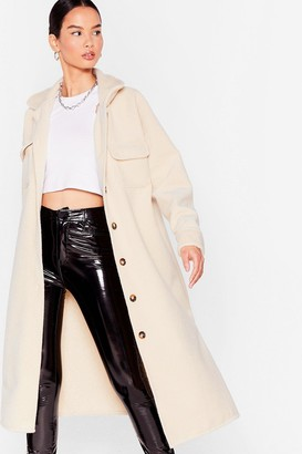 Nasty Gal Womens Pocket the Past Longline Shirt Jacket - Cream