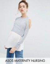 Asos NURSING Double Layer Sweater with Woven Hem