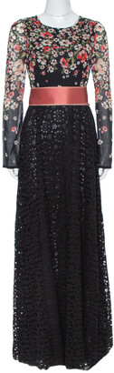 Dolce & Gabbana Black Floral Printed Chiffon & Lace Trim Maxi Dress M