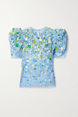 Carolina Herrera Embroidered Embellished Twill-trimmed Silk-organza Top - Light blue