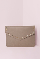 Missguided Stud Trim Envelope Clutch Bag Taupe