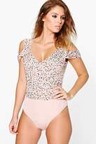 boohoo Anna Boutique Embellished Bodysuit nude