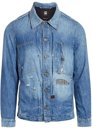 G Star Distressed Denim Shirt