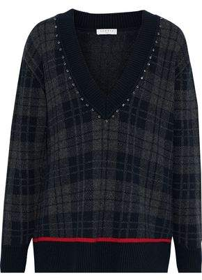 Sandro Jose Crystal-embellished Checked Knitted Sweater