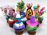 "Disney ALICE IN WONDERLAND 12 Piece Birthday CUPCAKE Topper Set Featuring Alice in Wonderland Figures and Decorative Themed Accessories, Figures Average 2"" to 3"" Inches Tall"