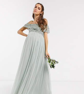 Maya Maternity Bridesmaid bardot maxi tulle dress with tonal delicate sequins in green lily