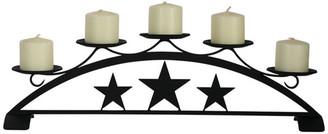 Village Wrought Iron Star Tabletop Pillar Candleholder
