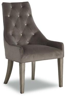 Rosdorf Park Comeford Tufted Velvet Upholstered Parsons Chair in Gray