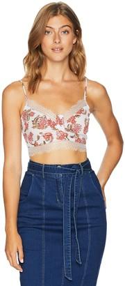 En Creme Women's Floral Lace Crop Top