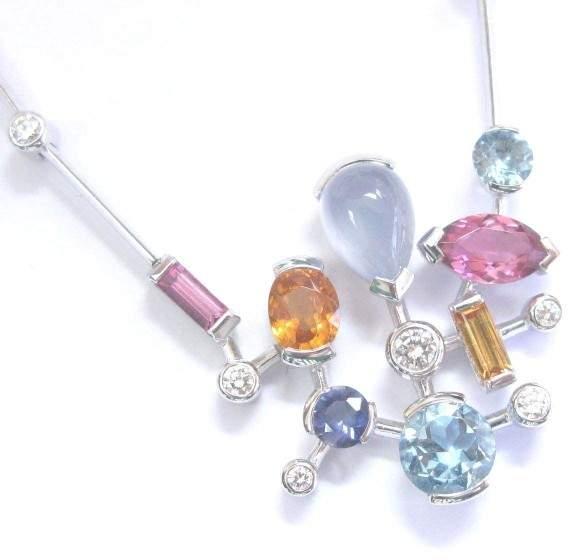 Cartier 18K White Gold Meli Melo Multi Gem Diamond Necklace