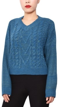 Derek Heart Juniors' Cable-Knit V-Neck Sweater